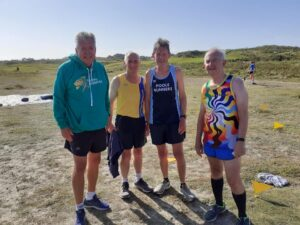 Alun, Ian, Geoff and Dave at Guernsey parkrun