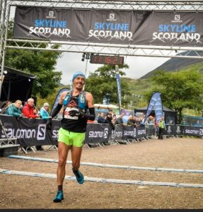 JC crosses the line in the Three Mealls Trail Race