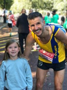 Ant Clark with his daughter at the London Marathon