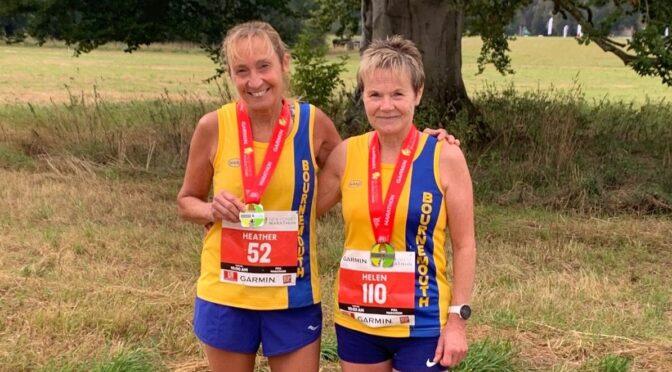 Heather Khoshnevis and Helen Ambrosen in the New Forest Marathon