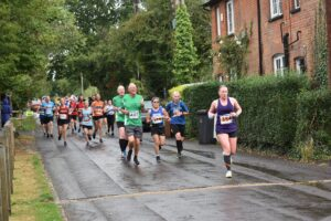 Nikki giving her all in the Lordshill 10k
