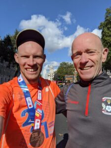 Rob Spencer and Barry Dolman after the London Marathon