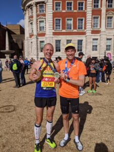 Rob Spencer with a former teammate from St Albans Striders